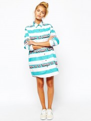Oversized Shirt With Tomorrow Stripe Print